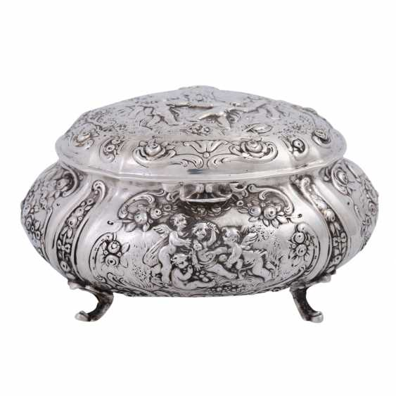 GERMAN lidded box, 800 silver, 1. Half of the 20. Century. - photo 1