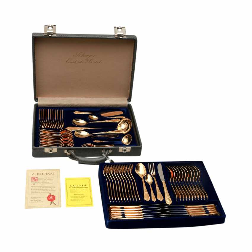 SBS food Cutlery f. Solingen gold plated 12 persons in suitcase, hard, 20. Century. - photo 1