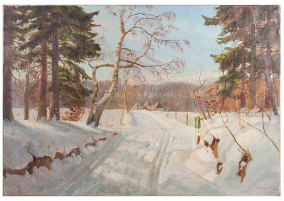 "Danish school, ""Winter landscape in warm colors"" - photo 1"