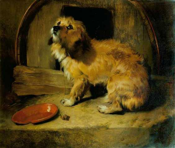 """Pair of plaques with copies of paintings by Sir E. Landseer """"Dignity and Impudence"""" - photo 2"""