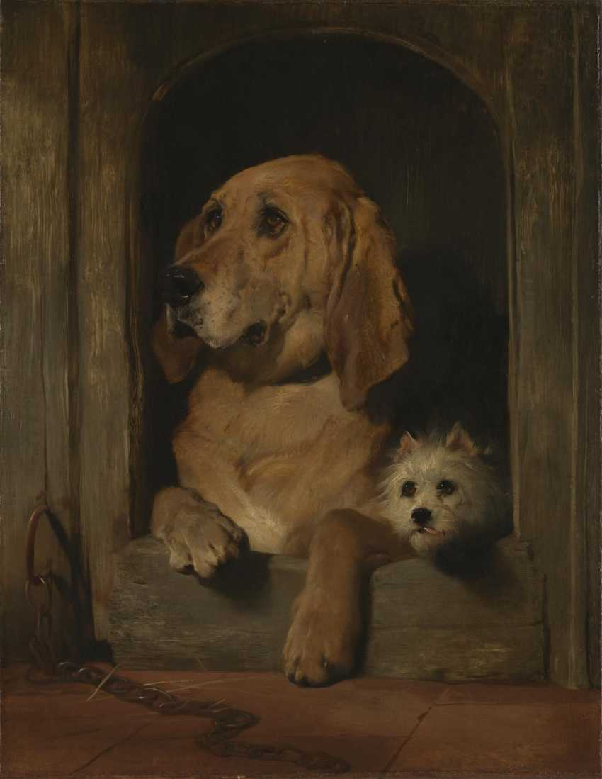 """Pair of plaques with copies of paintings by Sir E. Landseer """"Dignity and Impudence"""" - photo 3"""