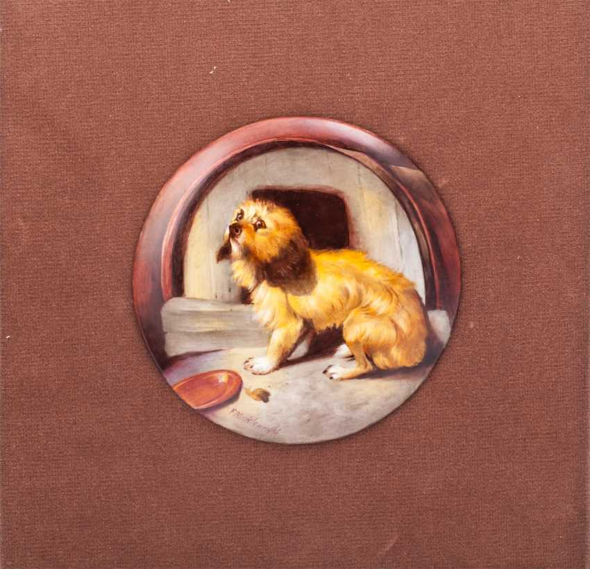 """Pair of plaques with copies of paintings by Sir E. Landseer """"Dignity and Impudence"""" - photo 4"""