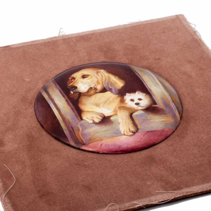 """Pair of plaques with copies of paintings by Sir E. Landseer """"Dignity and Impudence"""" - photo 7"""