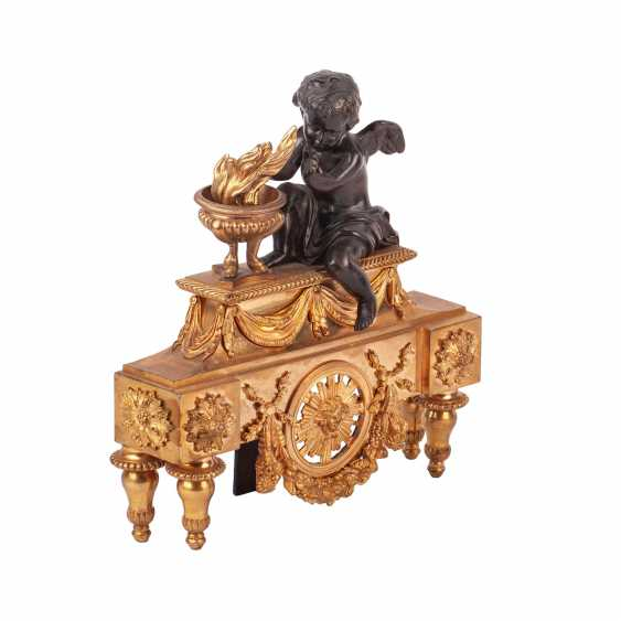 Pair of French sculpture with putti to the fireplace clock - photo 2