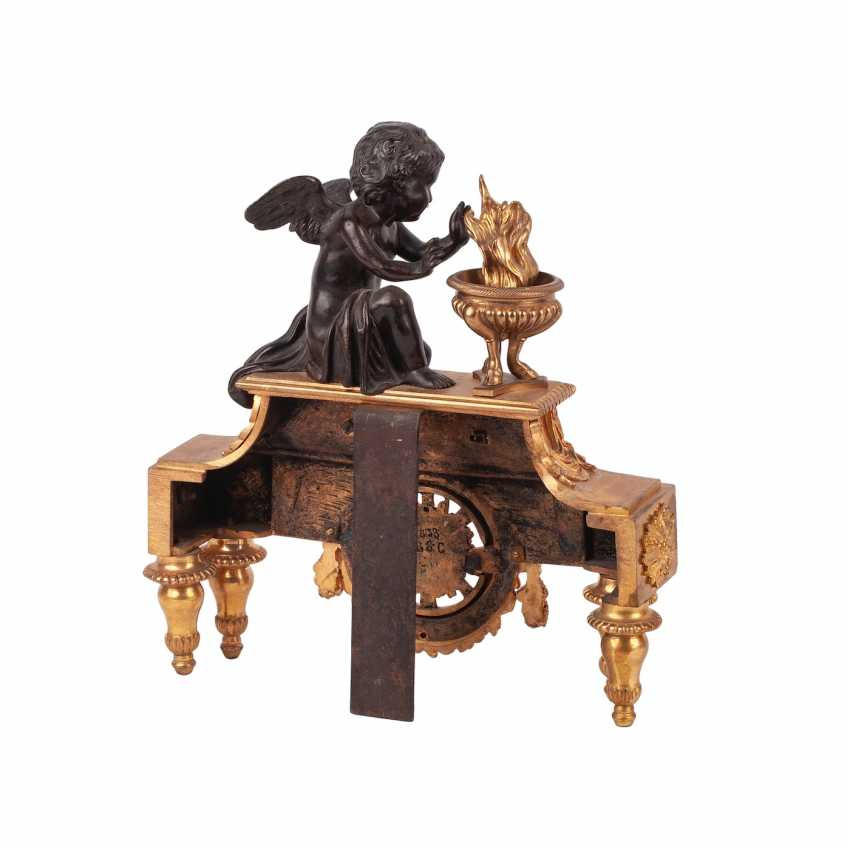 Pair of French sculpture with putti to the fireplace clock - photo 3