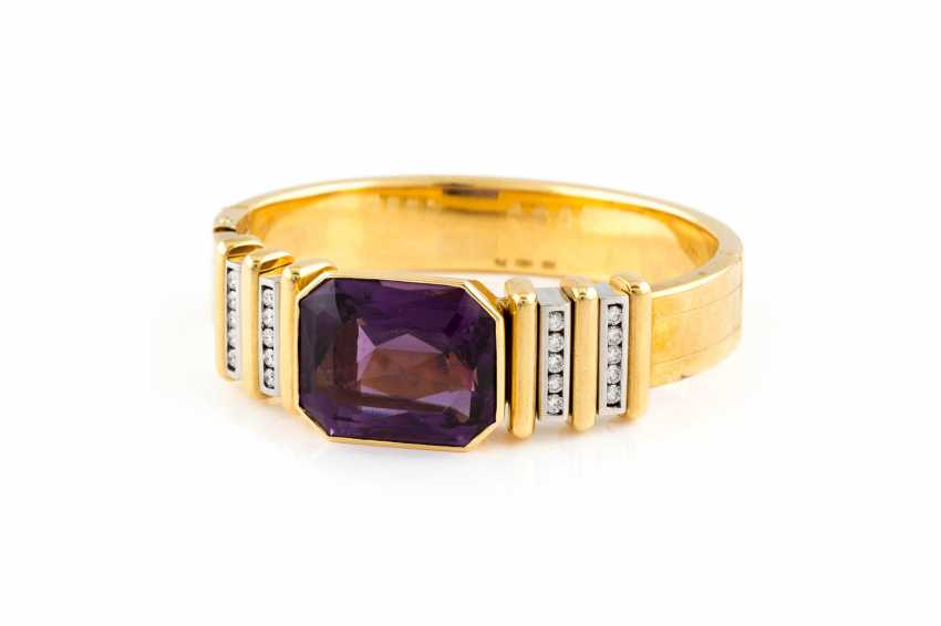 BANGLE BRACELET WITH AMETHYST AND DIAMONDS - photo 1