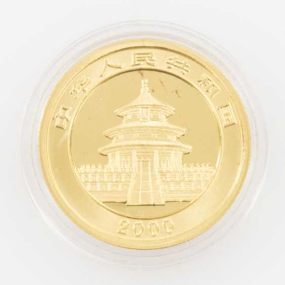 China GOLD 50 Yuan in 2000, a Sitting Panda with bamboo branch to foliage. 1/2 Ounce Fine Gold. - photo 1