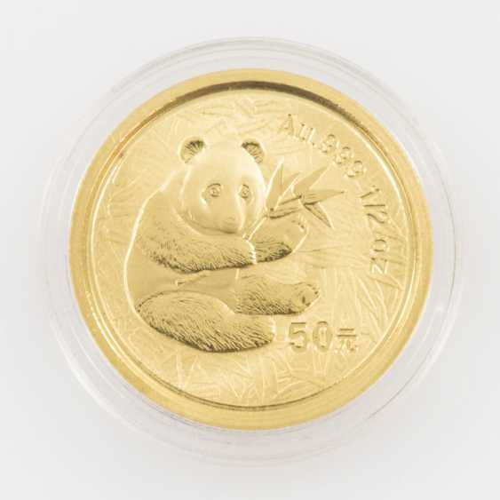 China GOLD 50 Yuan in 2000, a Sitting Panda with bamboo branch to foliage. 1/2 Ounce Fine Gold. - photo 2