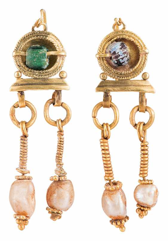 Pair of gold earrings with glass beads and mother-of-pearl - photo 1