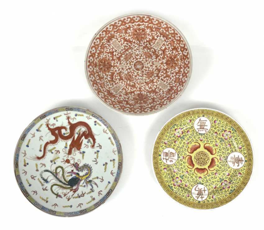 Three Porcelain Plates, China - photo 1
