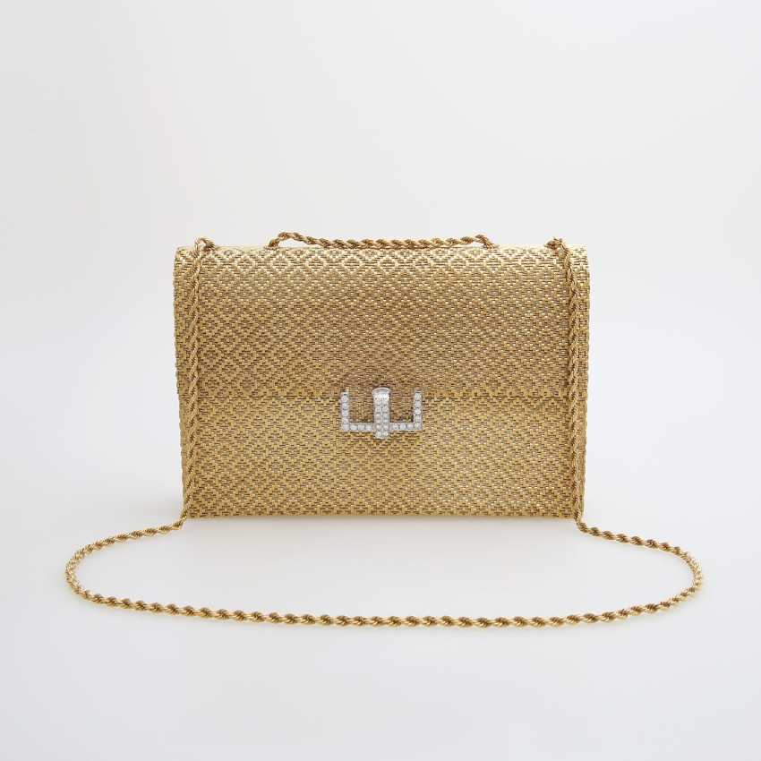 Evening bag made of finely textured Gold with diamond-set Clasp - photo 1