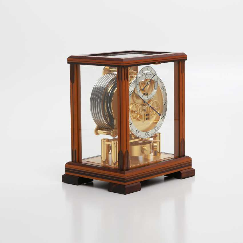 """JAEGER LE COULTRE table clock """"Atmos Regulator"""". High quality wood case with inlays, - photo 6"""