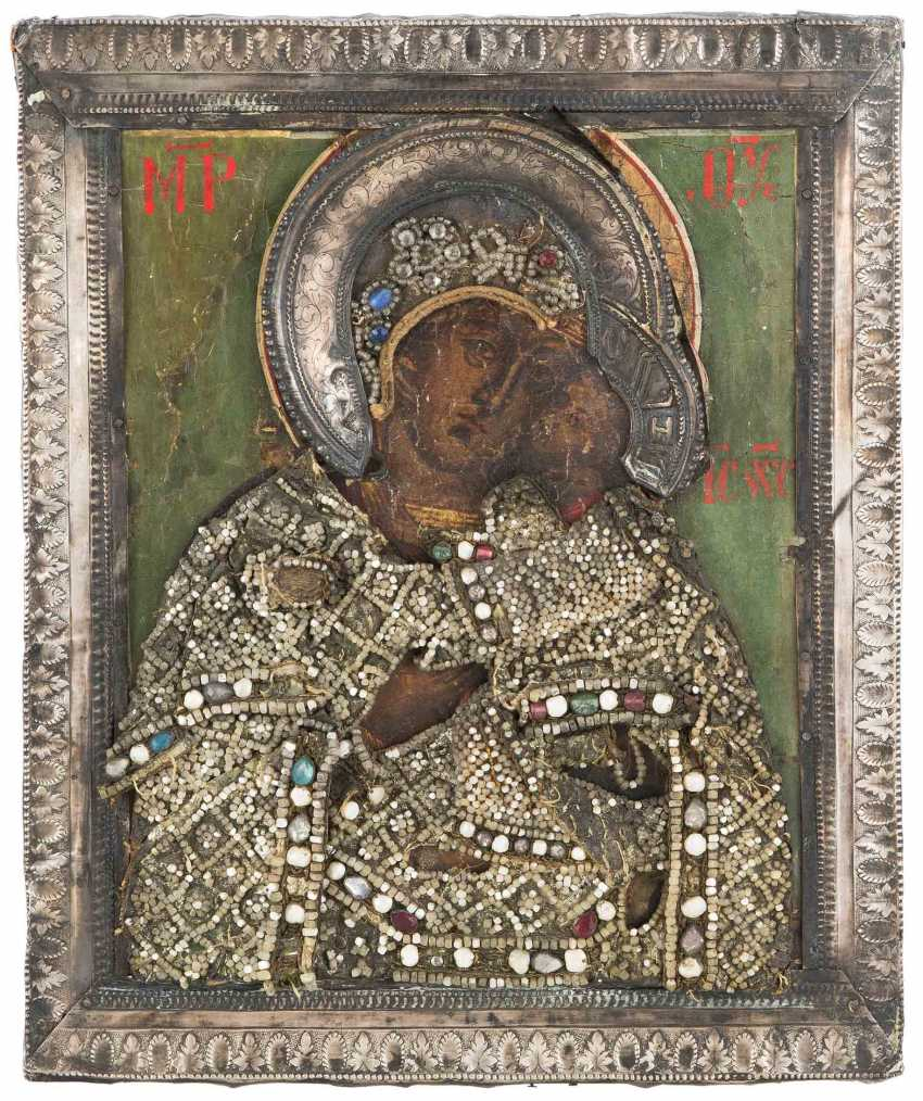 Mother of God of Vladimir with Silberbasma and Perlenoklad - photo 1