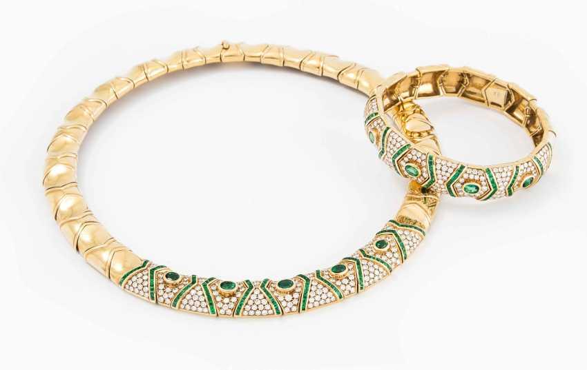 Smaragd-Brillant-Collier und Bracelet - photo 1