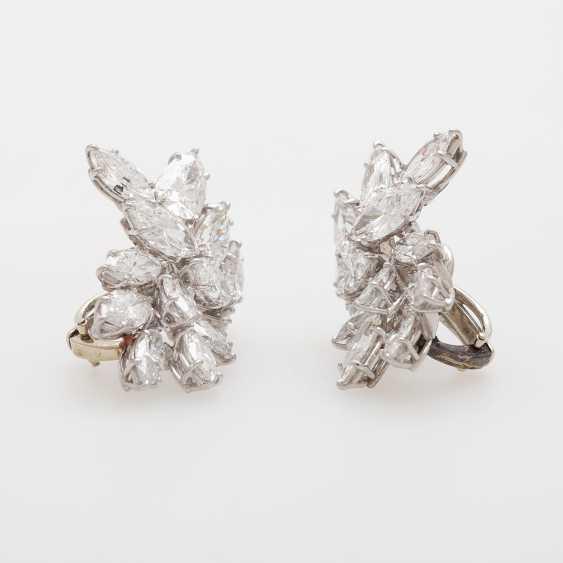 Dispositif De Boucles D'Oreilles, Navette Diamants, - photo 2
