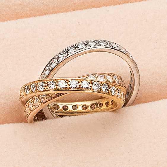 Tricolor ring trio with diamonds - photo 1