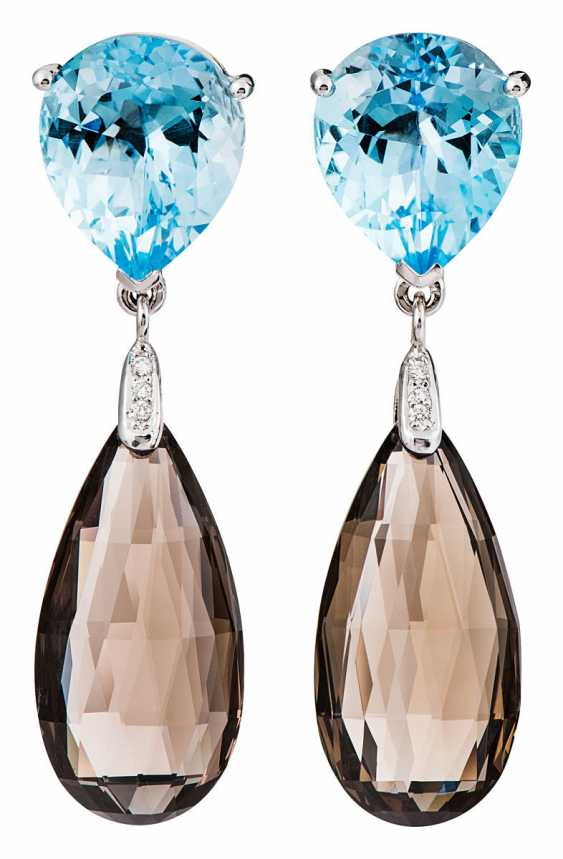 Pair of blue Topaz earrings with smoke crystals - photo 1