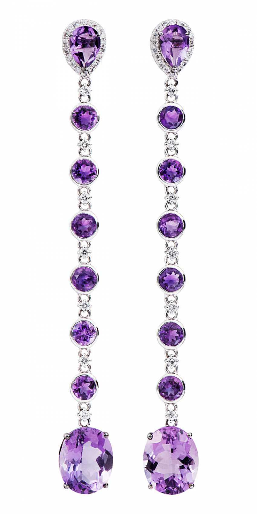 Pair of earrings with amethysts and diamonds - photo 1