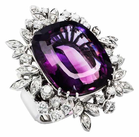 Blütenring avec Améthyste et Diamants - photo 1