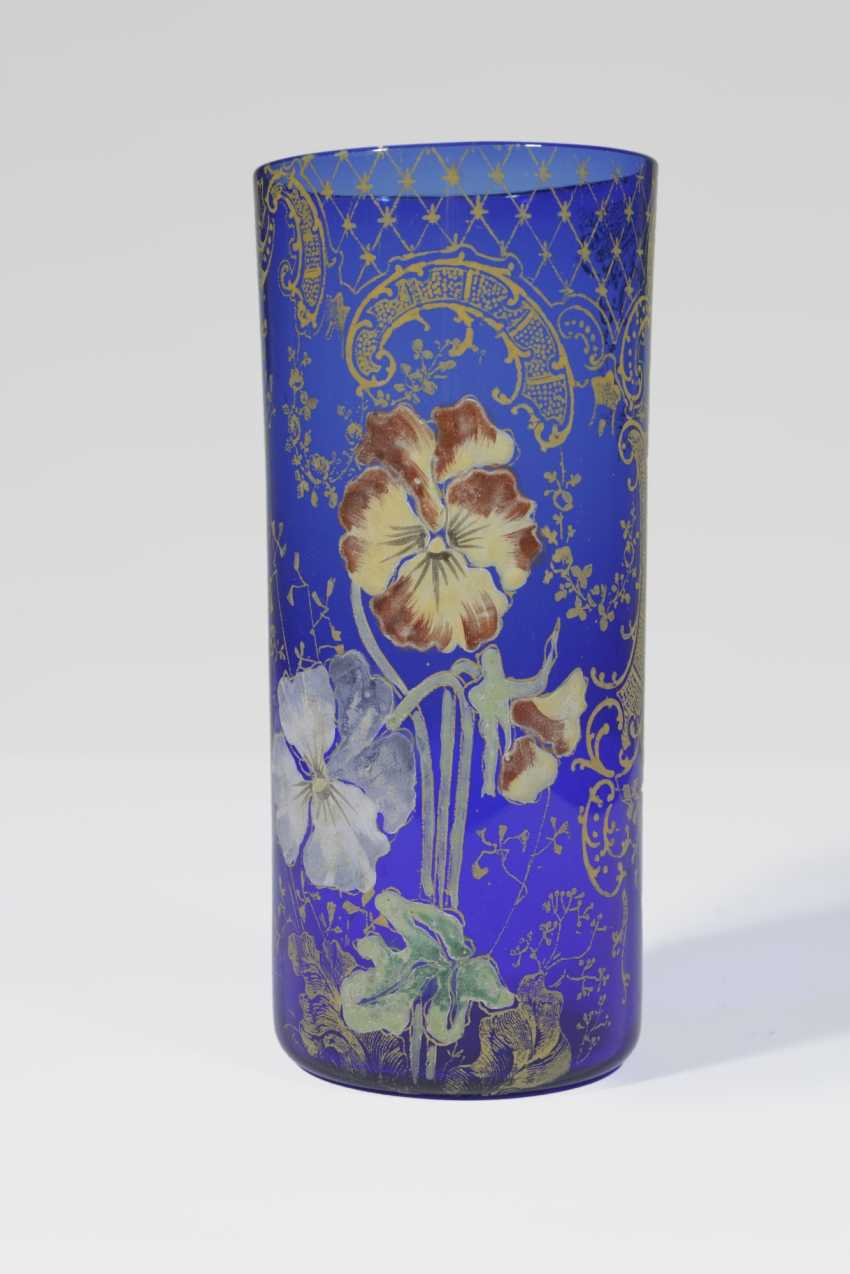 Vase with Pansy flowers in polychrome enamel painting - photo 1