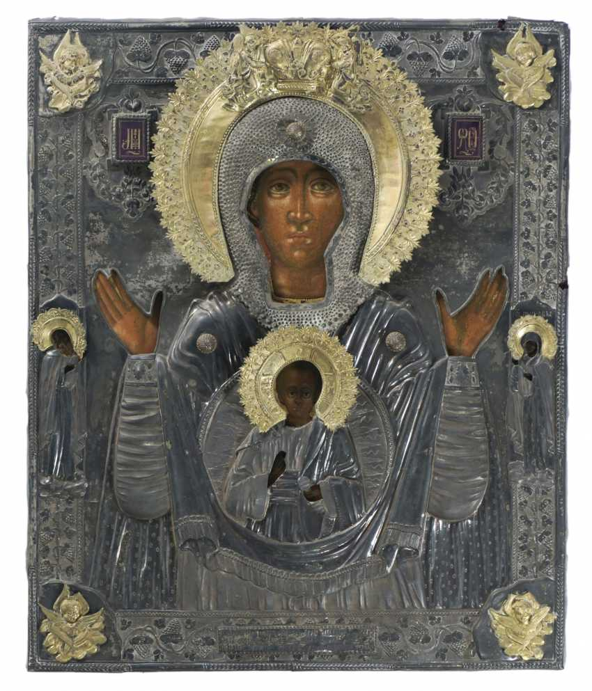 Large signed icon of the mother of God of the sign with Silberoklad - photo 1