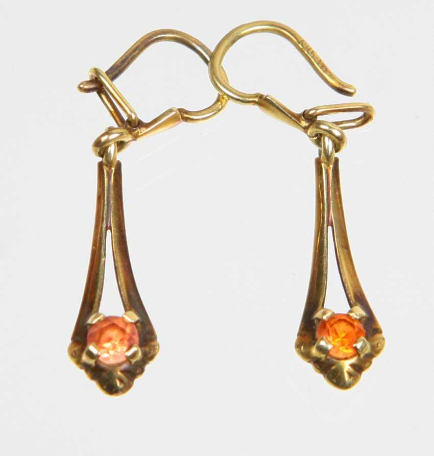 Earrings with citrine - yellow gold 585 - photo 1