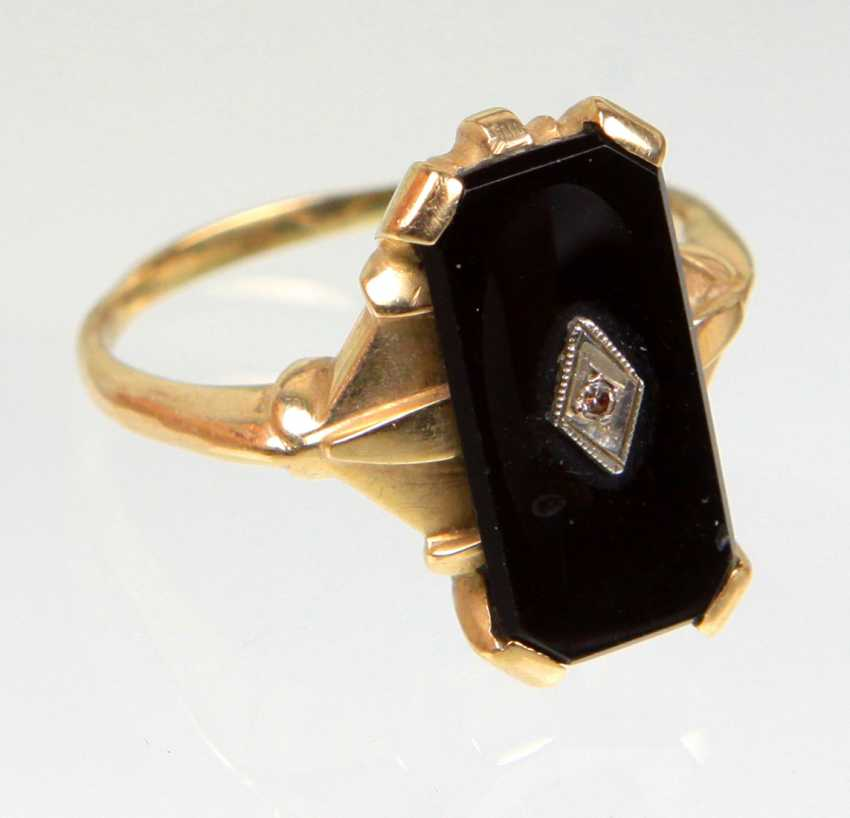 Art Déco Onyx Bague avec Diamant en or Jaune 585 - photo 1