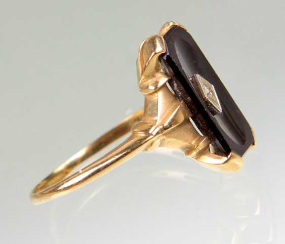 Art Deco Onyx Ring with diamond - yellow gold 585 - photo 2