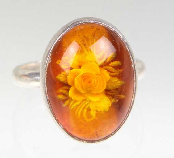 Amber Ring with rose engraving - photo 1