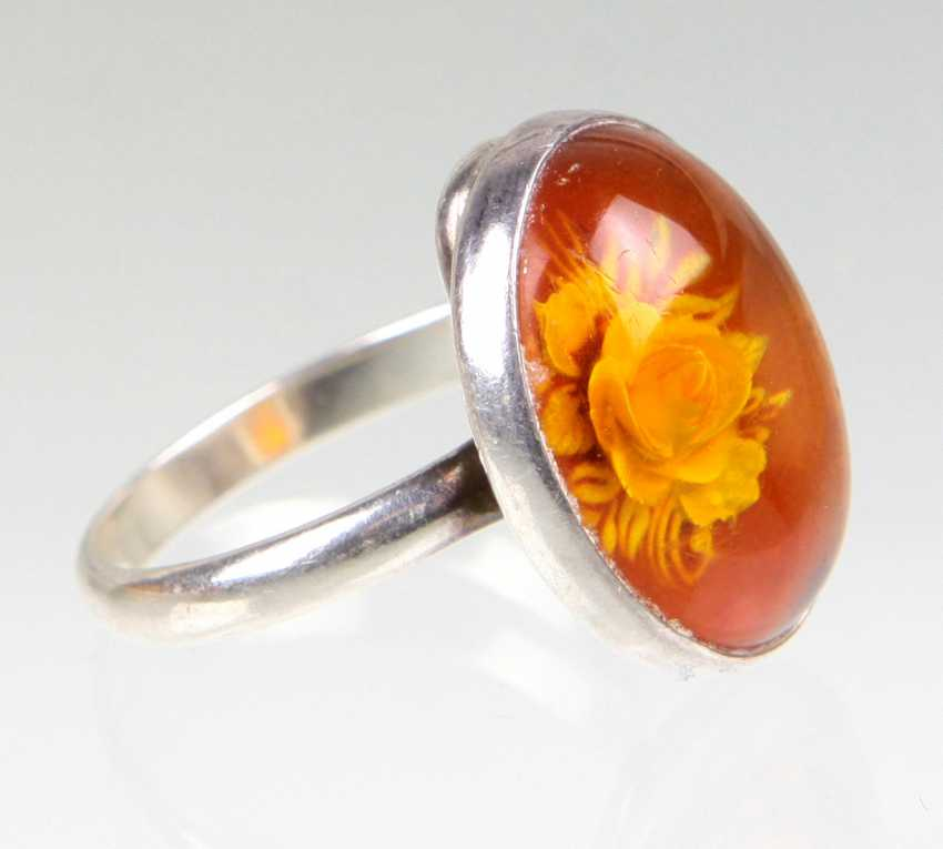 Amber Ring with rose engraving - photo 2