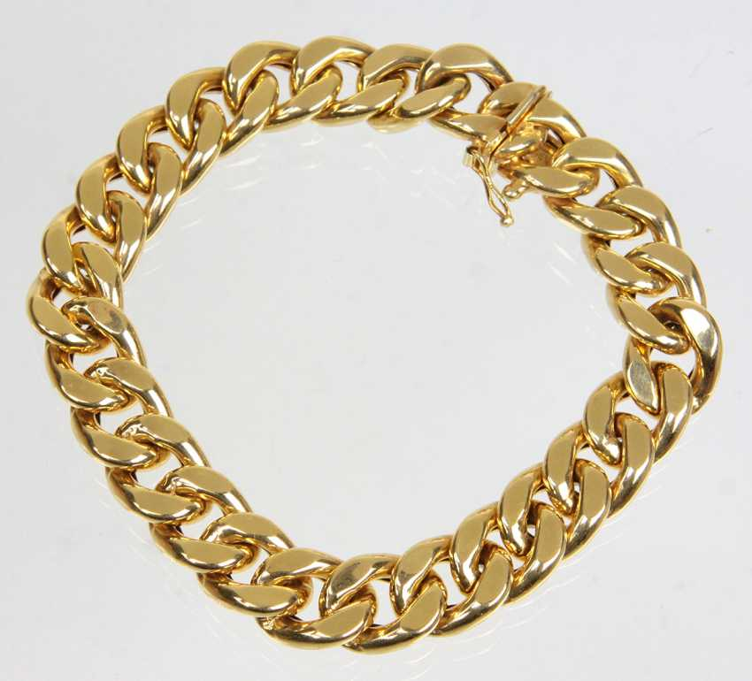 wide curb bracelet - yellow gold 585 - photo 1