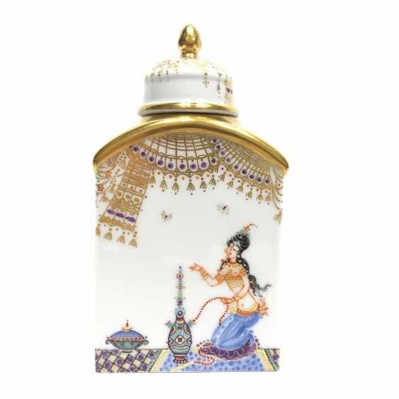 Boîte à thé / boîte à couvercle: Porcelaine de Meissen, 1001 nuits, plaqué or, ornements d'or, Professeur Heinz Werner, très bien. - photo 3