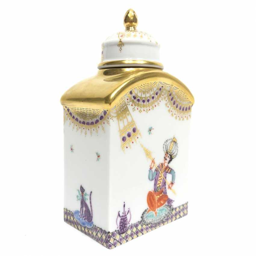 Boîte à thé / boîte à couvercle: Porcelaine de Meissen, 1001 nuits, plaqué or, ornements d'or, Professeur Heinz Werner, très bien. - photo 5