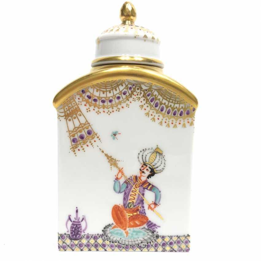 Boîte à thé / boîte à couvercle: Porcelaine de Meissen, 1001 nuits, plaqué or, ornements d'or, Professeur Heinz Werner, très bien. - photo 6