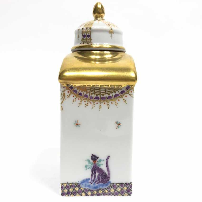 Boîte à thé / boîte à couvercle: Porcelaine de Meissen, 1001 nuits, plaqué or, ornements d'or, Professeur Heinz Werner, très bien. - photo 7