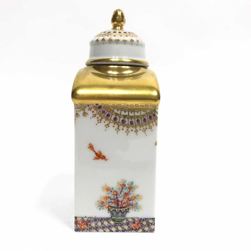 Boîte à thé / boîte à couvercle: Porcelaine de Meissen, 1001 nuits, plaqué or, ornements d'or, Professeur Heinz Werner, très bien. - photo 8