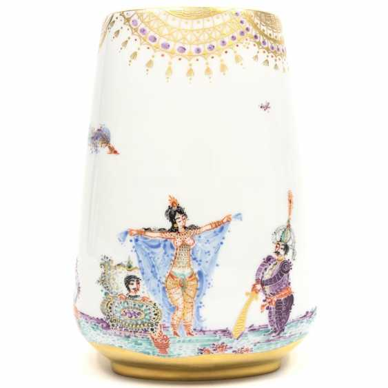 Large Vase / fireplace vase: Meissen porcelain 1001 Arabian nights, gold plated, gold ornaments, Prof. H. Werner, very good. - photo 1