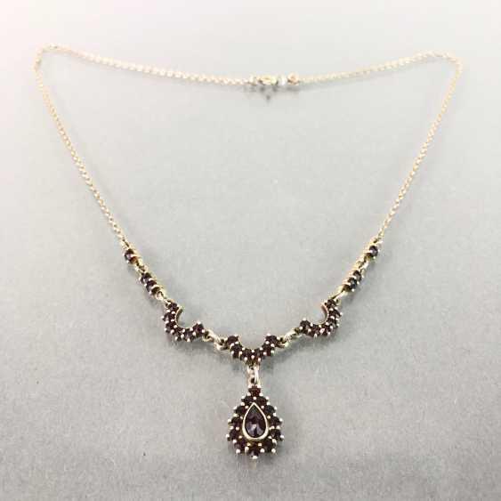 Art Nouveau necklace with garnet, silver. - photo 1