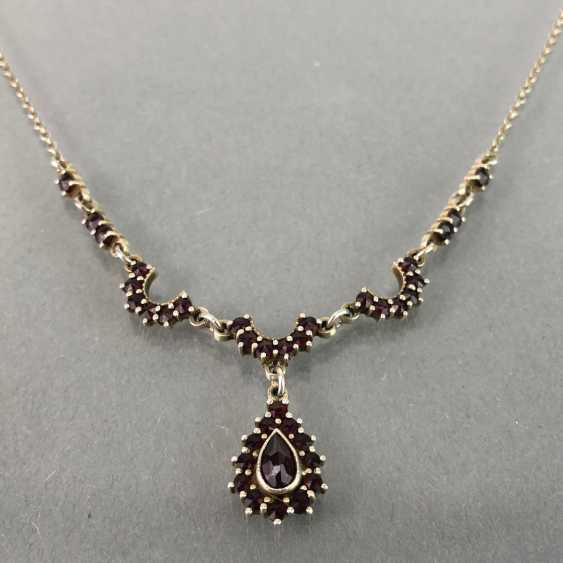 Art Nouveau necklace with garnet, silver. - photo 2