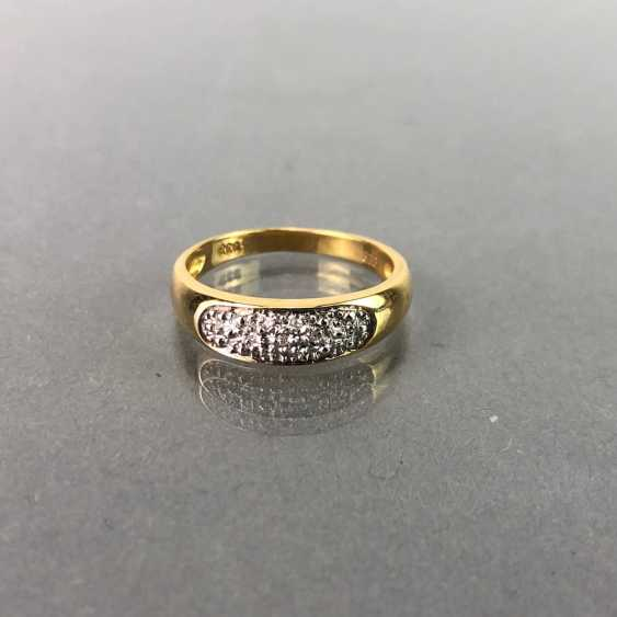 Ladies ring / sterling silver ring with brilliant-cut diamonds, yellow gold 333 gold and white gold 585. - photo 1