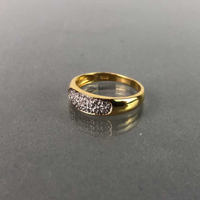 Ladies ring / sterling silver ring with brilliant-cut diamonds, yellow gold 333 gold and white gold 585. - photo 2