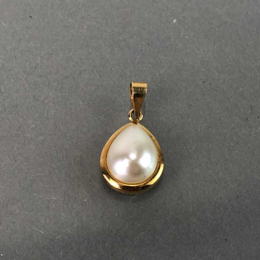 Classic pendant with pearl, yellow gold 333. - photo 2