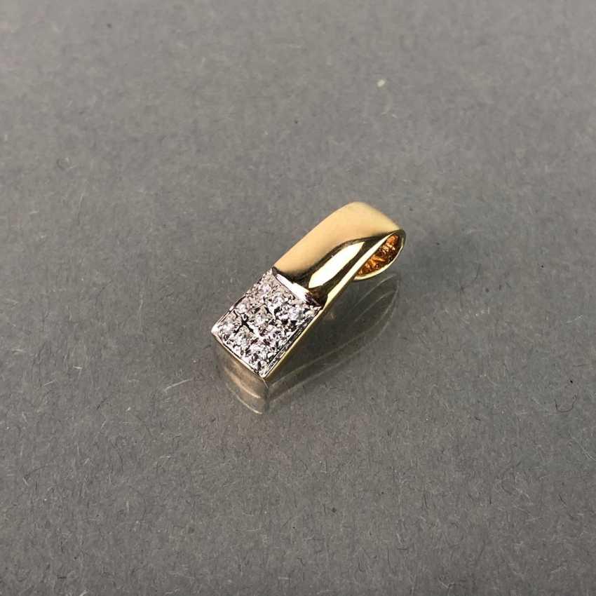 Elegant pendant with diamonds, yellow gold 585. - photo 2