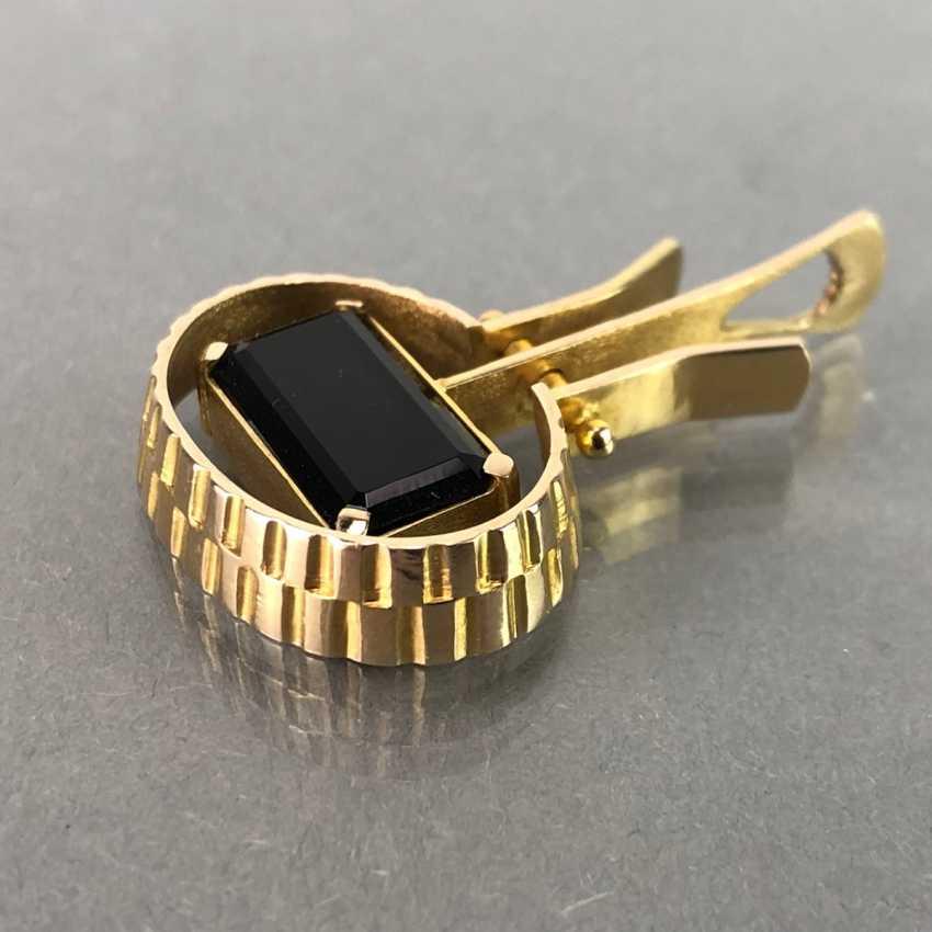 Designer pendant with large tourmaline, yellow gold 585, hand work. Unique. - photo 3