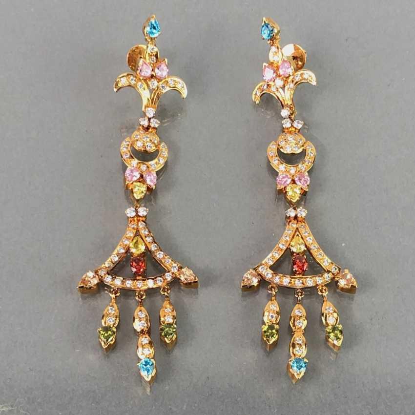 Extraordinary earrings with Topaz, citrine, garnet, tourmaline, smoky quartz and Amethyst. The Art Deco Style. - photo 1