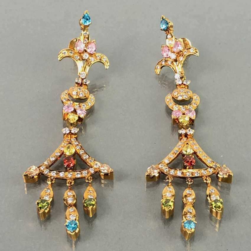 Extraordinary earrings with Topaz, citrine, garnet, tourmaline, smoky quartz and Amethyst. The Art Deco Style. - photo 2