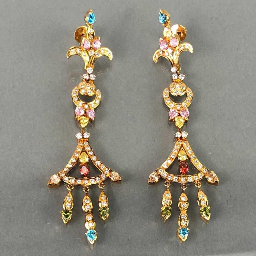 Extraordinary earrings with Topaz, citrine, garnet, tourmaline, smoky quartz and Amethyst. The Art Deco Style. - photo 3