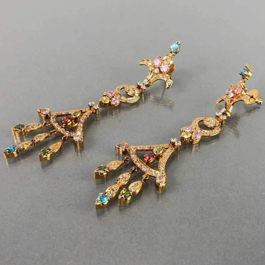 Extraordinary earrings with Topaz, citrine, garnet, tourmaline, smoky quartz and Amethyst. The Art Deco Style. - photo 4