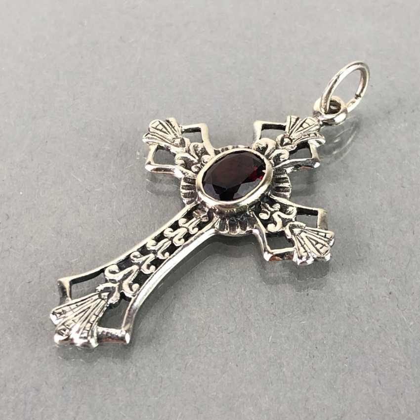 Cross pendant with garnet, silver. - photo 1