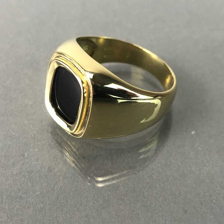 Men's ring with Onyx in yellow gold 585. - photo 2